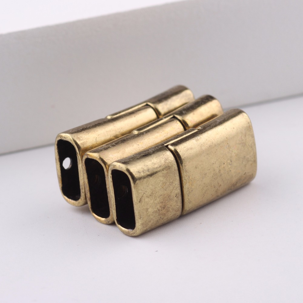 reidgaller 5pcs antique copper leather jewelry clasps bracelet end caps <font><b>connector</b></font> diy metal magnetic clasp 4x9mm dia image