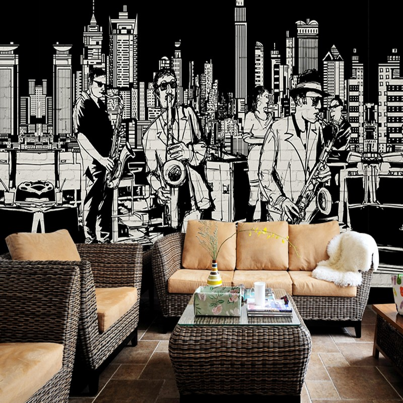 Photo Wallpaper 3D Music Style Wall Painting Club Living Room Studio Bar Background Instruments