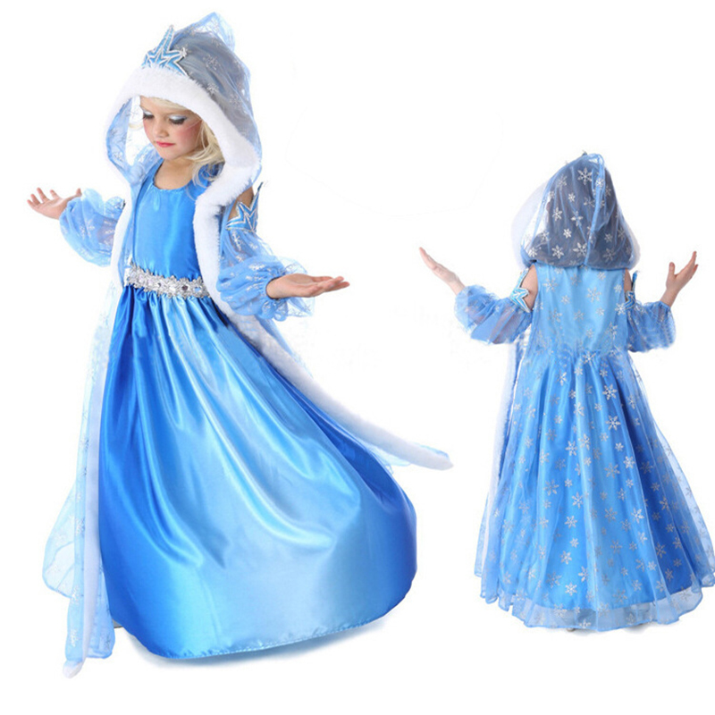 Free shipping 2018 Frozene Elsa Jurk Anna Party Dress Christmas fur Hooded Snow Printed Cosplay Custom Baby Girl Reine Des Neige