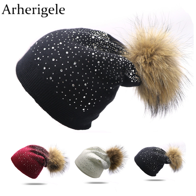 Arherigele 1pcs Women's Winter Hat Shining Rhinestone Knitted Hats Fashion Casual Fur Pompom Hats Solid Color   Skullies     Beanies