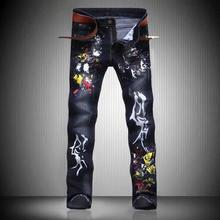 Hot Sale Fashion Print Jeans Black Slim Long Trousers