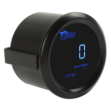 2 52MM 12V 0 ~ 9999RPM Black Car Vehicle Blue LED Universal Digital Tacho Gauge Meter
