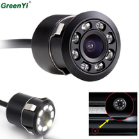 Vehicle Camer Mini Waterproof Color CCD Image Parking Backup Reverse Rear View Camera 8 LED Night