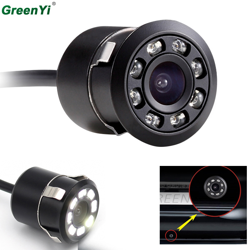 Vehicle Camer Mini Waterproof Color CCD Image Parking Backup Reverse Rear View Camera 8 LED Night Vision 18.5mm Drill ...