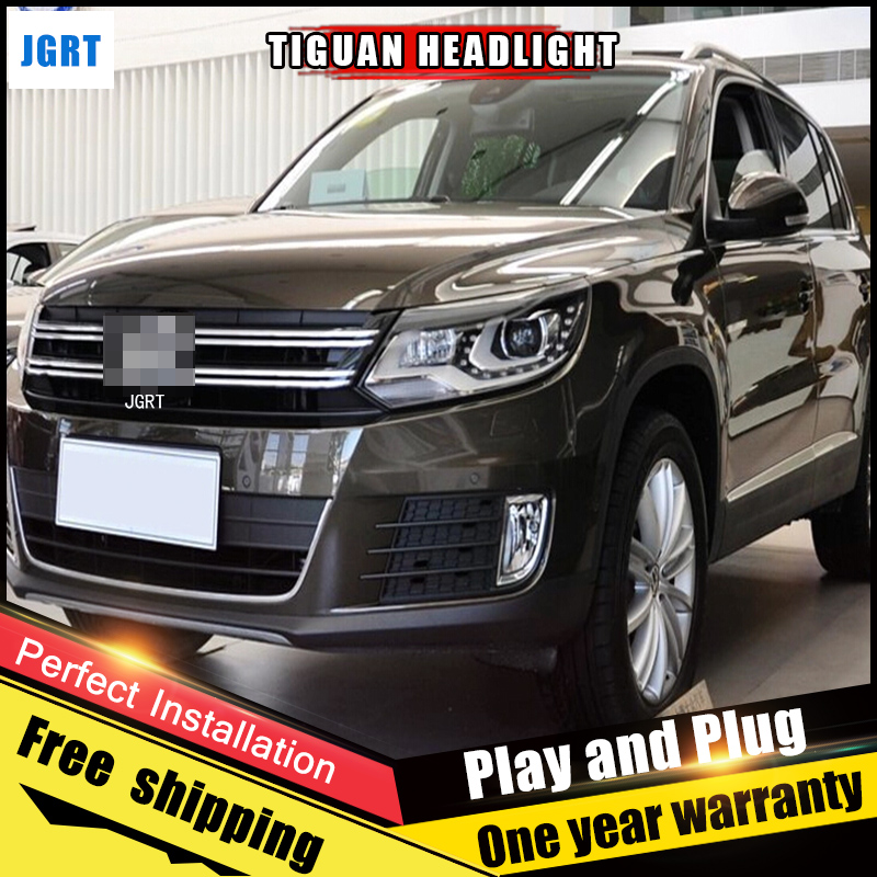 2PCS Car Style LED headlights for vw Tiguan 2013-2015 for Tiguan head lamp LED DRL Lens Double Beam H7 HID Xenon bi xenon lens hireno headlamp for volkswagen tiguan 2017 headlight headlight assembly led drl angel lens double beam hid xenon 2pcs