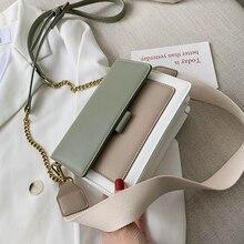 Bolso bandolera de cuero de color contraste para mujer 2019 bolso de viaje de moda Simple bandolera de mujer bolso cruzado del cuerpo