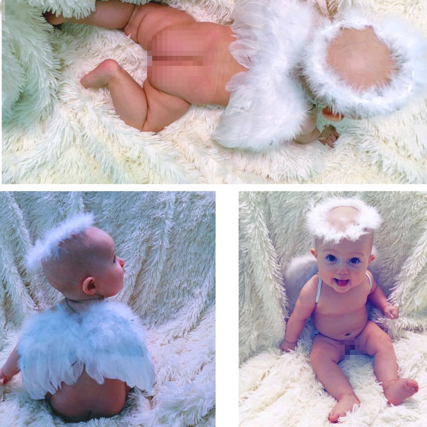 1 Set Infant Newborn Photo Prop Baby Kids Angel Fairy Feather Wing Costume For Children's Christmas Present Party Decor