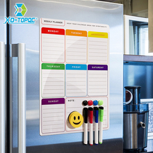 Купить с кэшбэком New Whiteboard Planner A3 Magnetic White Board For Notes Dry Wipe Weekly Plan Refrigerator Magnet Flexible Drawing Message Board