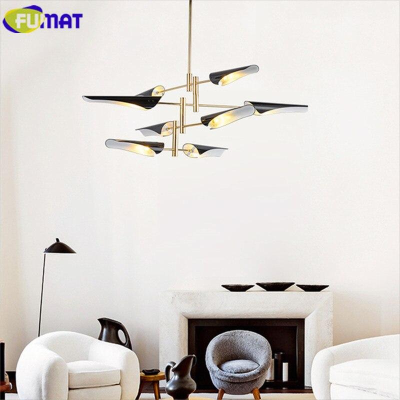FUMAT Propeller Pendelleuchte Moderne Art Deco Lampe Wohnzimmer Hotel Schwarz Weiss Hngeleuchte Eisen Led 8 Lichte
