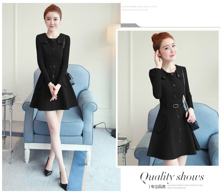 winter new round collar single-breasted cloth dress belt buttons A word women dresses Korean fashion outfit lady vogue vestido 34