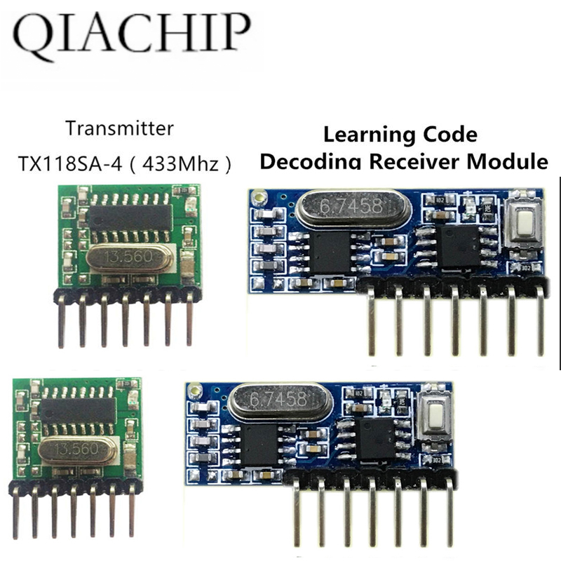 2pc433 Mhz Wireless Receiver and Transmitter Remote Control Learning Code 1527 Decoding Module 4 Ch output With Learning Button in Remote Controls from Consumer Electronics