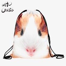 Qui Se Soucie Hamster Guinée de Porc 3D Impression Hommes Sacs Sac mochila feminina bolsos Voyage Sac De Cordon Sac À Dos Femmes Mode Marque