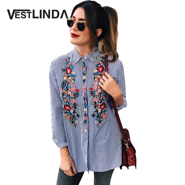 VESTLINDA Casual Women Blouses 2017 Floral Embroidery Shirt Long Sleeve Turn Down Collar Tops Striped Blusas Femme Loose Blouse