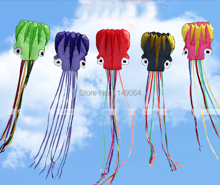 only 9 9 free shipping high quality 6m soft octopus kite with handle line various colors