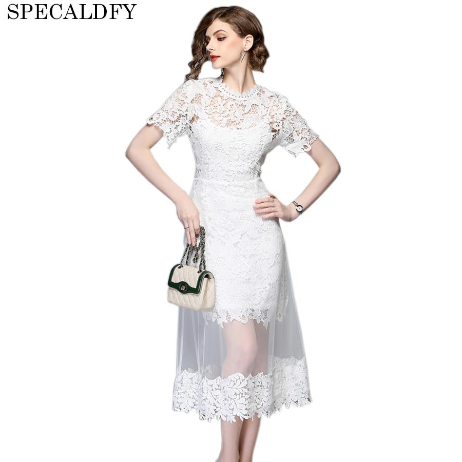 2018 haute qualité femmes mode Sexy évider blanc dentelle Robe femmes à manches courtes maille robes Sexy été Robe Femme