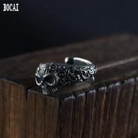 100% real S925 silver vintage Thai silver craft men's adjustable skull silver ring for Man thai silver 925 silver men's rings