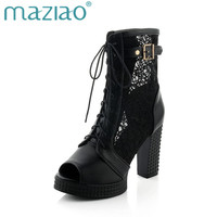 MAZIAO Big Size 32 43 Square High Heels Women Patchwork Party Shoes Lace Upper Leisure Woman Summer Boots Peep Toe Platform