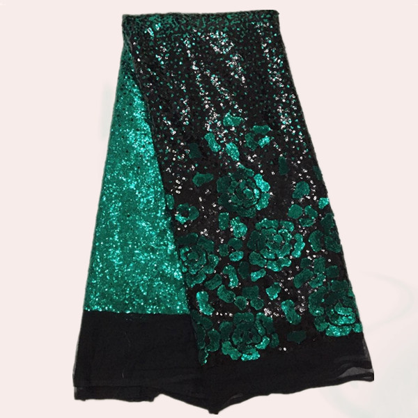 Wholesale black green flower French nylon net Lace Fabric with sequins for dress FN2 3 African