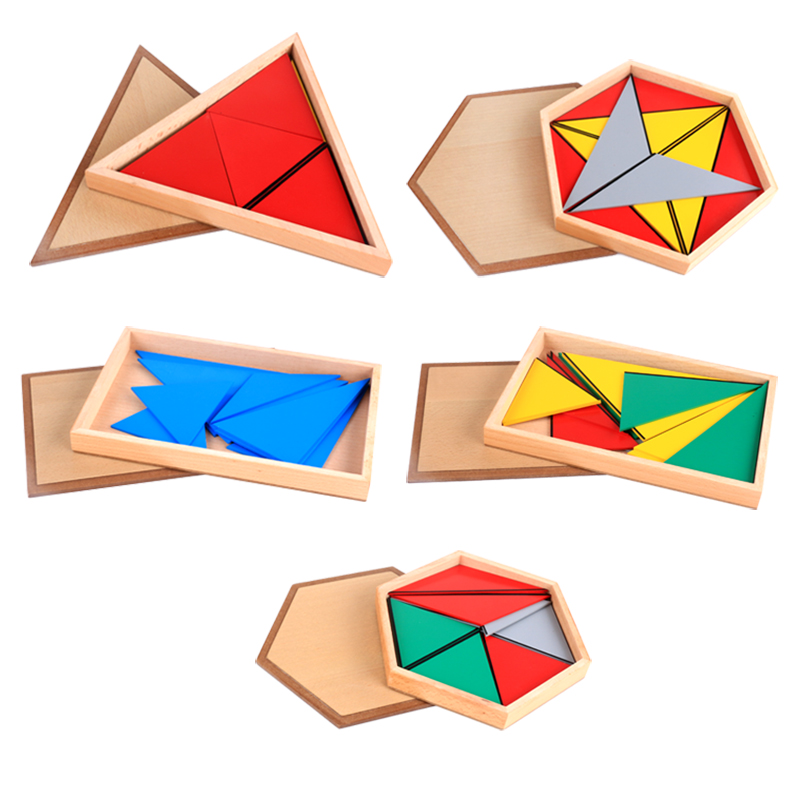 Wooden Montessori Materials Triangle Montessori Preschool Educational Learning Toys For Children Juguetes Brinquedos YG1144H montessori math toys montessori materials preschool geometry constructive triangles color equilateral triangle ud2065h