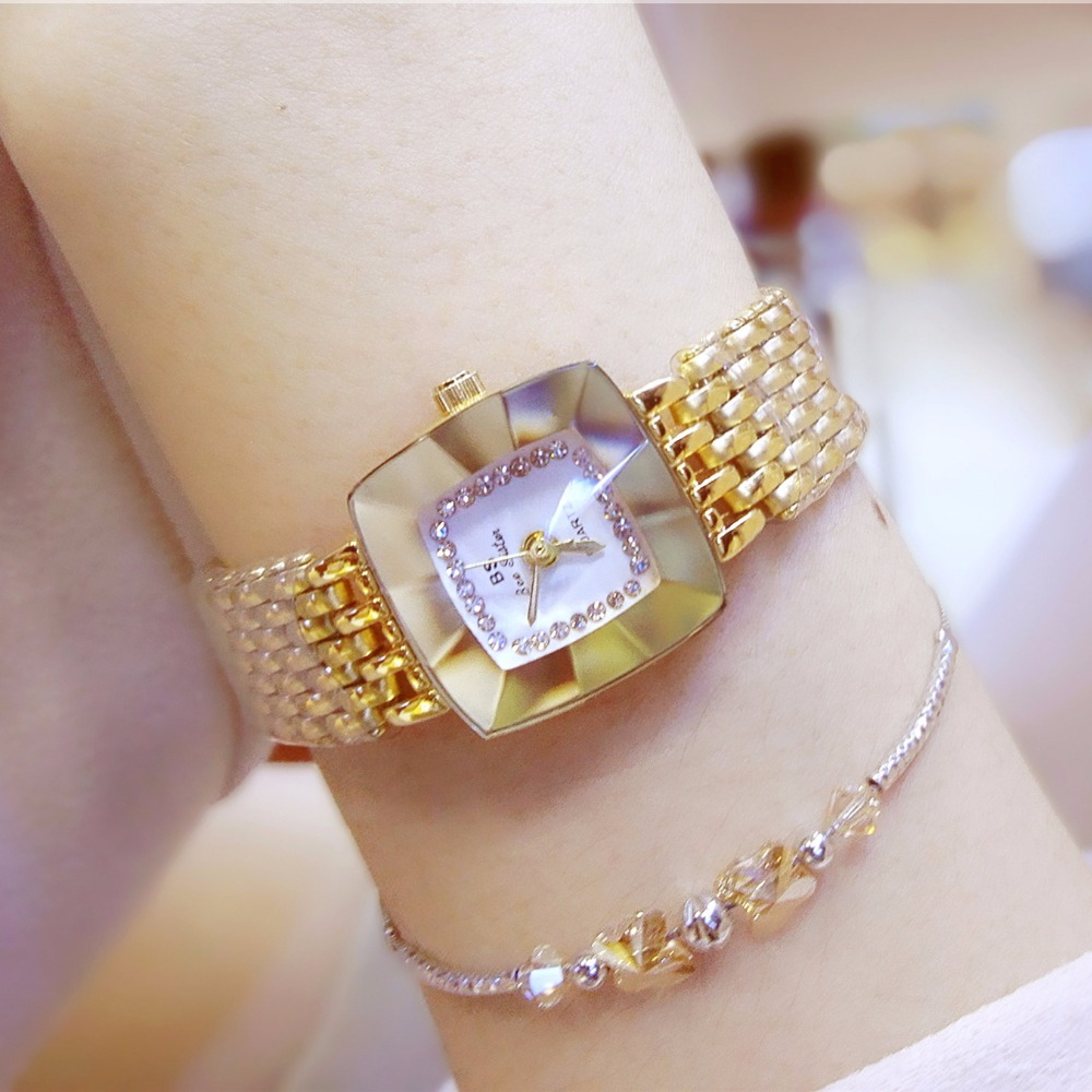 Hot Sale Gold Crystal Square Watch Full Diamond Bangle Watch