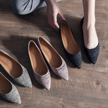 Womens Shoes 2019 Spring/Autumn New Flats Fashion Elegant Ballet Solid Pointed Slip-on Shallow Breathable Plus Size 33-43