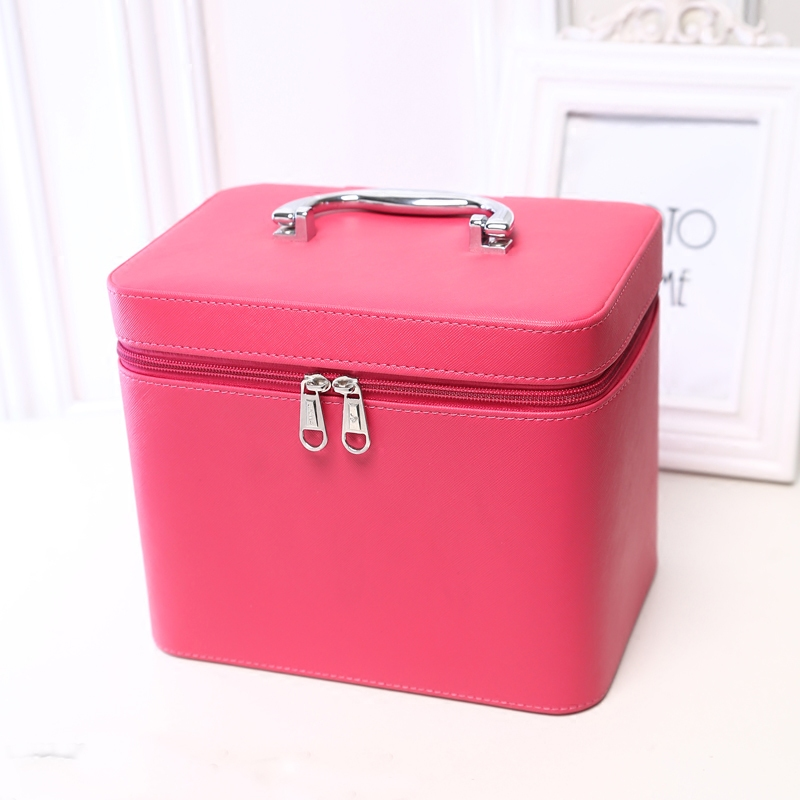 High Quality PU Leather Makeup Bag Solid Make Up Bags Female Zipper Cosmetic Bag Lady Cosmetic Cases Travel Organizer Bag high quality women classic makeup bag phone cases zipper organizer storage bags day clutches