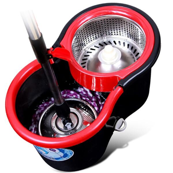 Vadrouille magique avec seau vadrouille en microfibre facile vadrouille rotative ménage nettoyage de sol ensemble avec 4 têtes de vadrouille