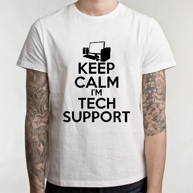 New Summer Funny Tech Support Geek T Shirts Men Joke GIFT T-shirts Short Sleeve Fashion Top Tees