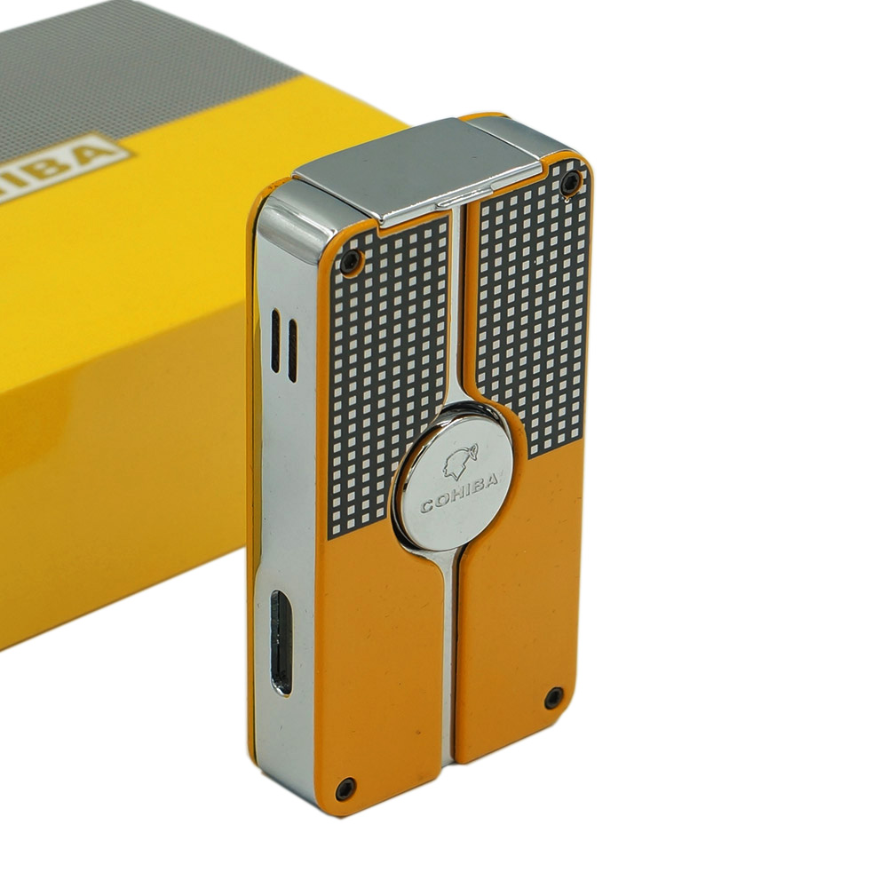 Cohiba Classic Metal Gas Butane 3 Torch Jet Flame Cigar Lighter With Punch Cigarette Windproof Lighters Gift Box