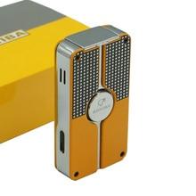 Cohiba классический металлический Газ Бутан 3 факел Jet Flame Зажигалка С Панч сигареты ветрозащитные зажигалки подарочная коробка