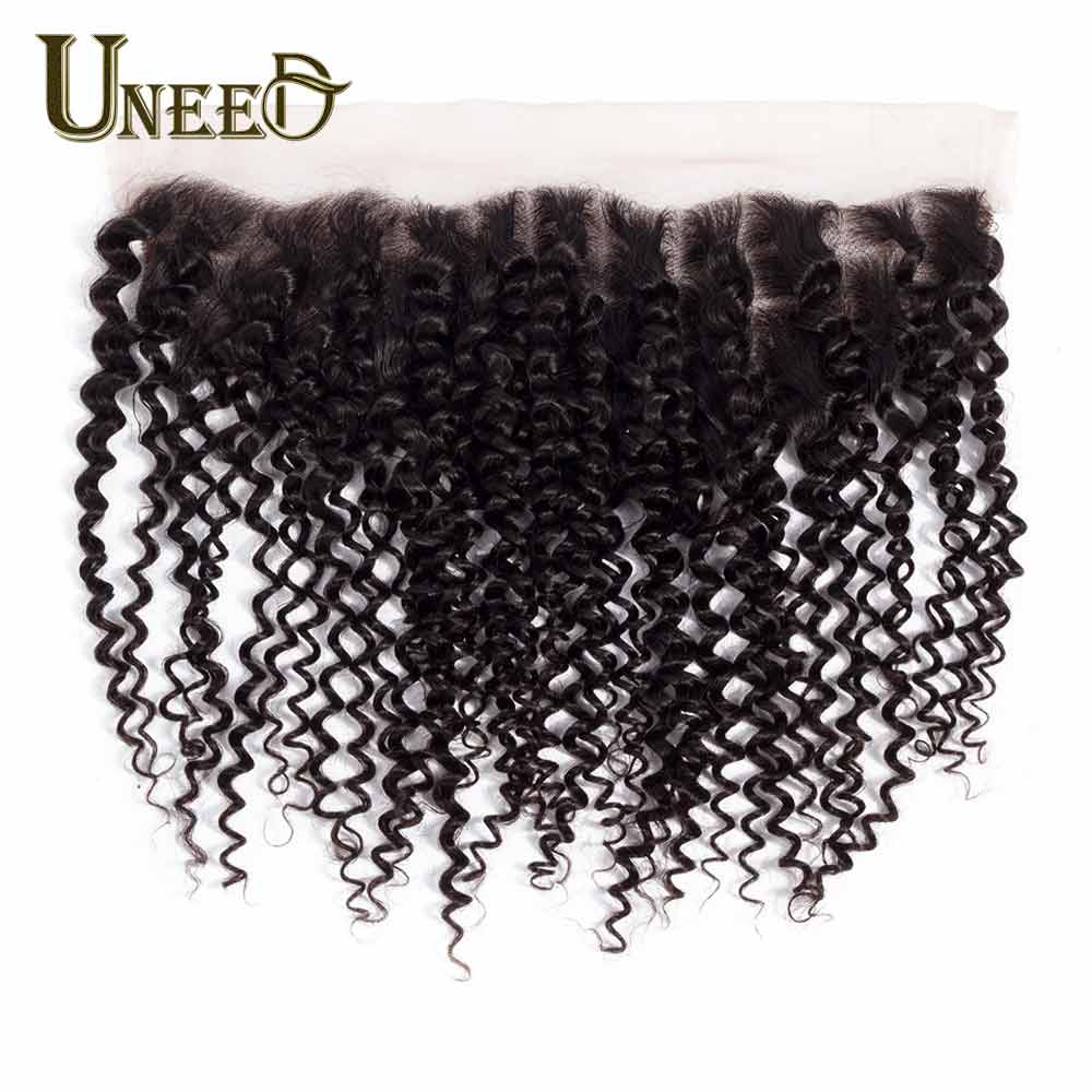 Mongolian Kinky Curly Hair 3 Bundles With Lace Frontal Closure Natural Color Human Hair With Closure Free Part/Middle Part Hair