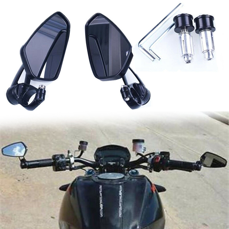 1 Pair Aluminum Alloy Motorcycle Rear View Side Mirrors 360 Swivel 7 8 quot Handlebar Universal 21 14 5 7CM in Side Mirrors amp Accessories from Automobiles amp Motorcycles