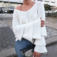 Ordifree 2017 Autumn Winter Women Jumper Long Sleeve Warm V Neck Tricot Pullover White Grey Women