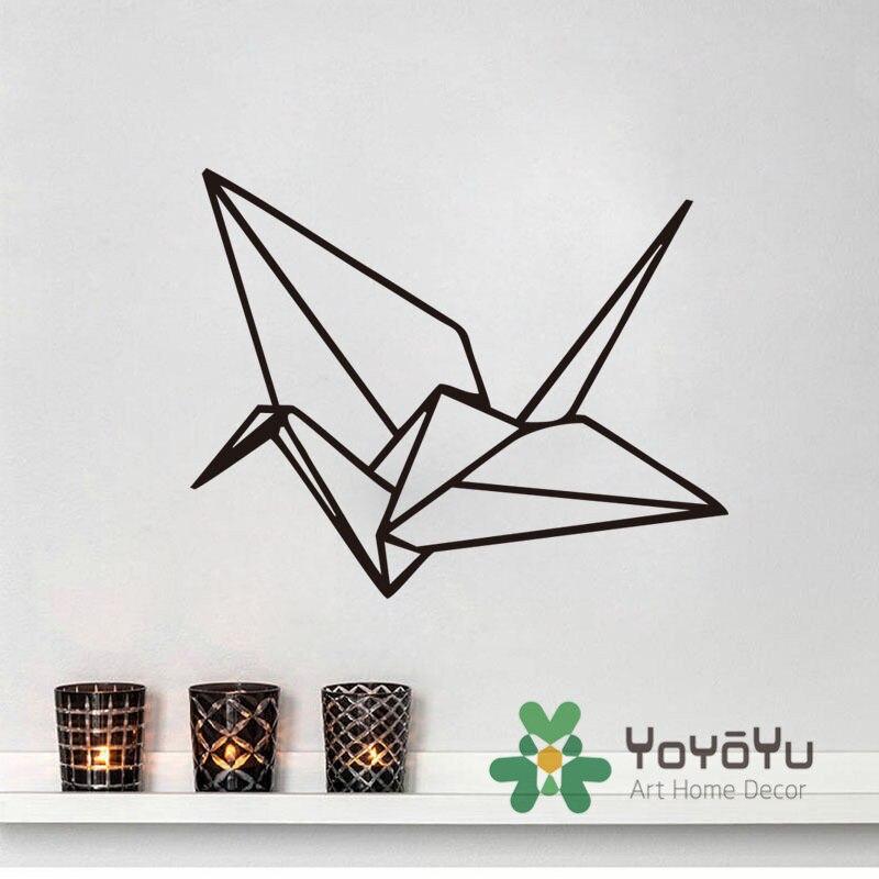 Art Origami Geometrická nálepka na zeď Dekorace Ložnice Jeřáb Moderní Vinyl Art Samolepka DIY Děti Dětská místnost muursticker adesivo NY-109