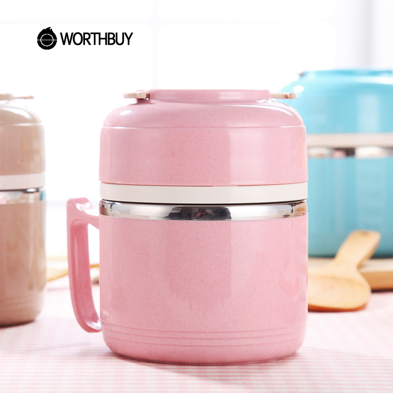 WORTHBUY Japanese Cute Stainless Steel Lunch Box Leak-Proof Portable Bento Box With Handle Food Container For Kids Picnic Set
