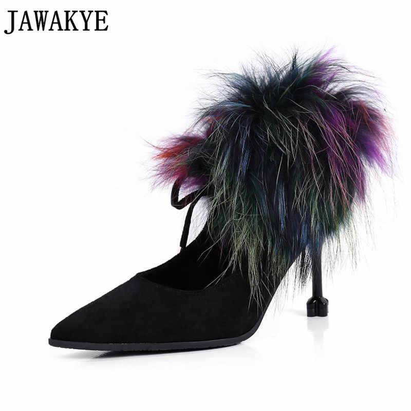 Sonbahar siyah haki renkli kürk süslenmiş bayan pompaları yüksek topuklu ayakkabı kadın çocuk süet ayak bileği çizmeler kadınlar için sapatos feminino