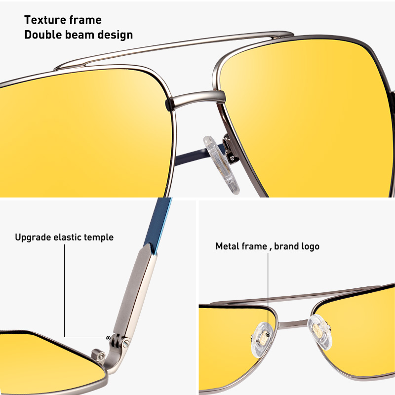 Image 4 - CAPONI Vintage Sunglasses Photochromic Polarized Fashion Eyewear For Men Square Night Vision Driving Sun Glasses UV400 BSYS8002-in Men's Sunglasses from Apparel Accessories