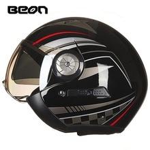 New BEON open face 3/4 moto caschi dell'annata delle donne degli uomini doppia visiera moto rcycle moto rbike casco