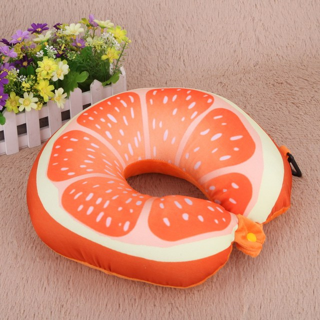 New Fruit U Shaped Car Travel Pillow Cushion Protection Neck Pillow for Travel Nanoparticles Massage Soft 3D Cushion 8