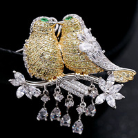 Zlxgirl Great Yellow cubic zircon Two birds wedding brooches for women gifts perfect rhodium silver copper Hijab pins accessory