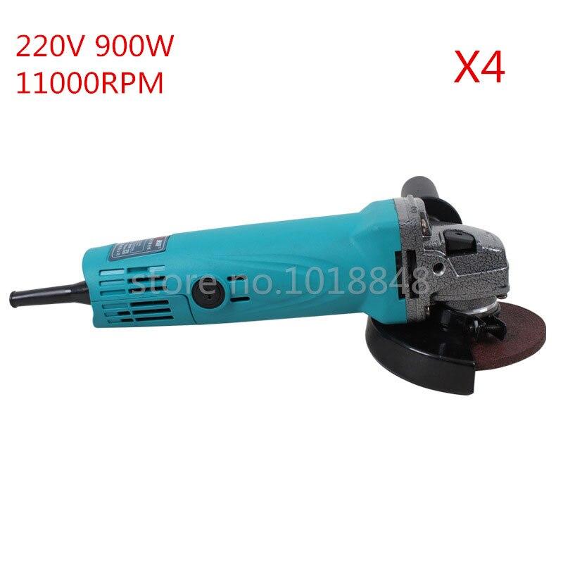 ФОТО 220V 900W 11000r/m Wheel Dia 100mm Angle Grinder Polishing machine Grinding Machine 4pcs/Lot