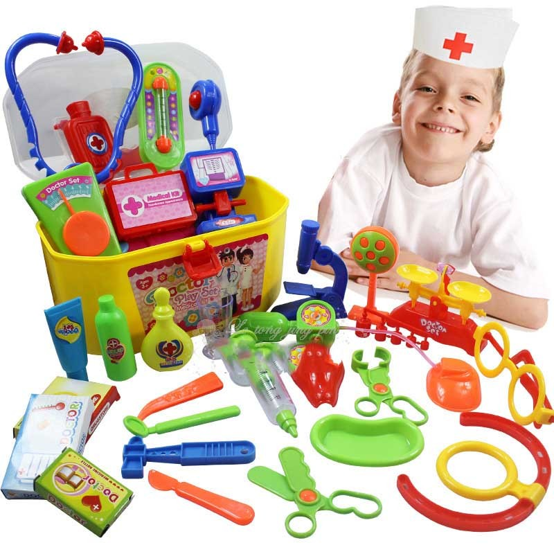 30 PCS/Set Pretend Play Doctor Medical Toys Children Education Medicine Box Carry Case Role Creative Playing Toys TF0011