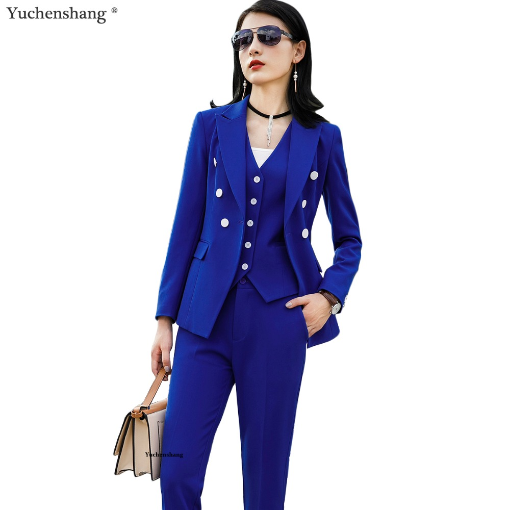 Women Pant Suits Office Lady Formal Business Set Suits Uniform Designs Style Work Wear Vest Blazer And Pant 3 Pieces Set