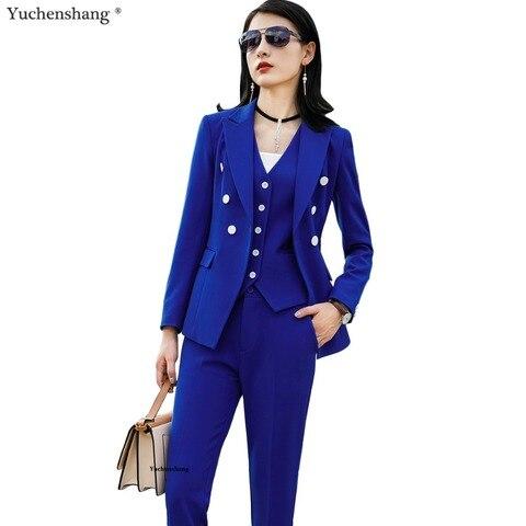 Women Suits Female Pant Suits Office Lady Formal Business Set Uniform Designs Style Work Wear Vest Blazer and Pant 3 Pieces Set Pakistan
