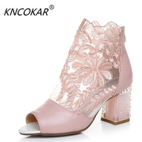 Spring and summer of Real leather lace flower net noodles cool boots Thick with fish mouth womens sandals 34 41 yards