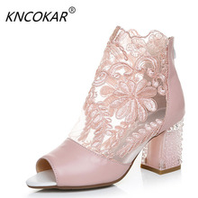 Spring and summer of Real leather lace flower net noodles cool boots Thick with fish-mouth womens sandals 34-41 yards
