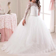 Toddler Girl Lace Dress Long Tulle Teen Girl Party Dress Elegant Children Clothing Kids Dresses For Girls Princess Wedding Gown 2019 lace embroidery dress kids dresses for girl princess autumn winter party ball gown children clothing wear dress for girls