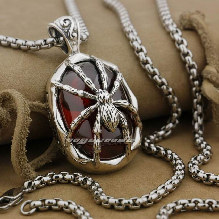 Huge Heavy 925 Sterling Silver Red CZ Spider Skull Mens Biker Pendant 9J018 Necklace 24inch