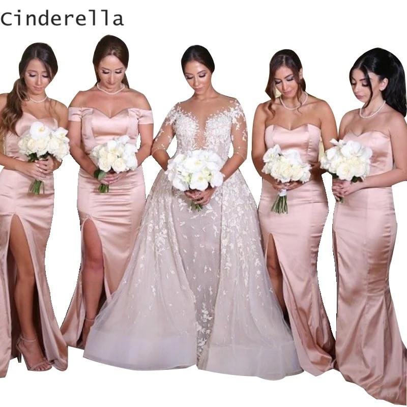 Cinderella Pink Sweetheart Off The Shoulder Cournt Train Mermaid Elastic Satin   Bridesmaid     Dresses   Silk Satin Wedding Party Gowns