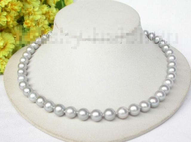 """Venda Hot new Style >>>>> 18 """"10mm brilho Cinza colar de pérolas redondas j8320 joaninha 925 fecho de prata"""